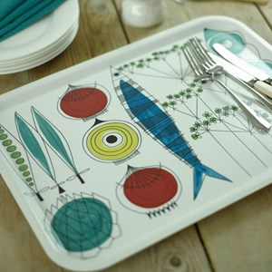 picknick design large drinks tray a vintage swedish print by Marianne Westman showing salad ingredie