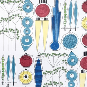 picknick swedish oilcloth a vintage design by Marianne Westman showing simple salad ingredients on f