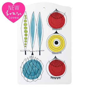 picknick design kitchen chopping board a vintage swedish print by Marianne Westman showing salad ing