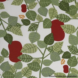 red orchard vintage cotton print is a fresh swedish design featuring red apples and green leave