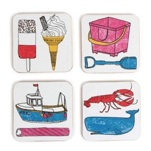 seaside fun holiday coaster by charlotte farmer featuring all things nautical and beach like trawler