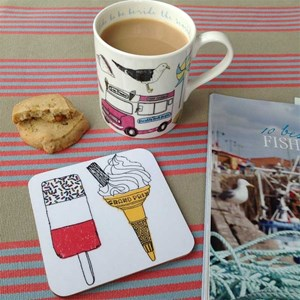 seaside fun holiday mug & coaster set by charlotte farmer featuring all things nautical and on the b