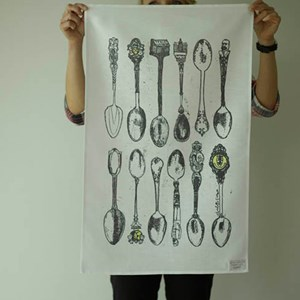 souvenir spoons tea towel