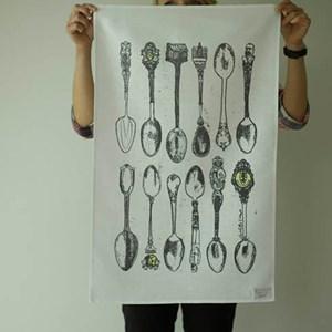 souvenir spoons tea towel