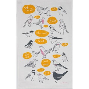 tweet bird tea towel with garden birds tweeting by illustrator Charlotte Farmer