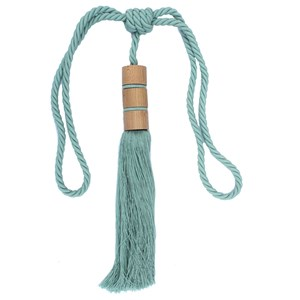 twirl large wood and tassel curtain tieback in duck egg blue colour