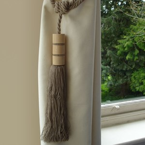 twirl large wood and tassel curtain tieback in nutmeg brown colour
