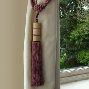 twirl large wood and tassel curtain tieback or holdback in rose pink colour