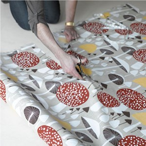 wild mushroom soft cotton fabric featuring brown autumn mushrooms by David van Berckel, printed by a
