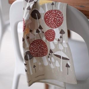wild mushroom cotton linen rea towel featuring brown autumn mushrooms by David van Berckel, printed