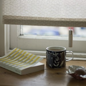 Alvo high quality interior window blind pull in stained whitewash beech wood and modern aluminium