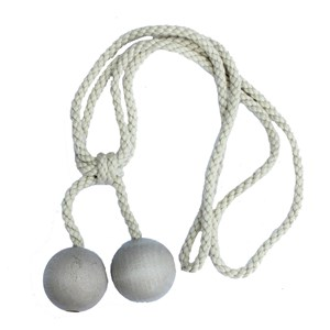 small wooden ball tieback - whitewash