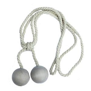 small wooden ball tieback - whitewash
