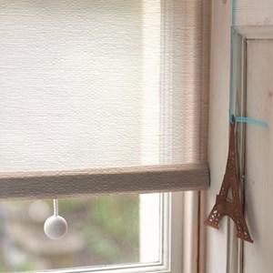 wooden ball blind pull -  whitewash