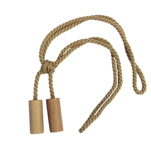 natural wood cylinder curtain tieback with cotton rope embrace