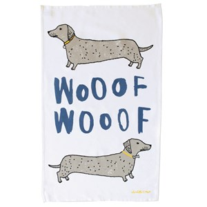 wooof tea towel daschund sausage dogs by illustrator charlotte farmer