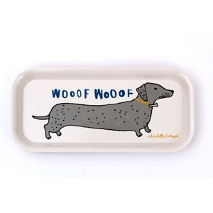wooof drinks tray showing daschund sausage dogs saying woof drawn by fun illustrator charlotte farme