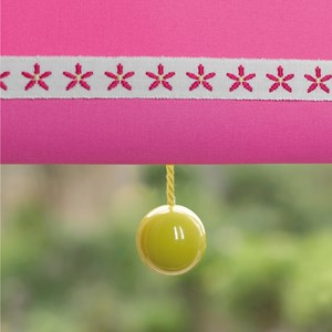 yellow bobbi ball window blind pulls that are gloss painted wooden balls