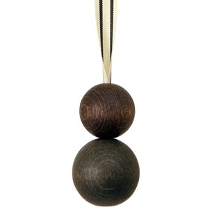 double wooden ball blind pull -  cocoa with ribbon