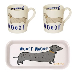 wooof 2 dog mugs and drinks tray gift set, with dachshund barking