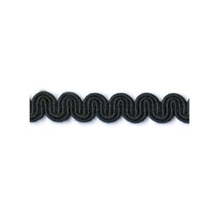 arco in black is a wavy curvy decorative trimming or braid designed to bend round corners