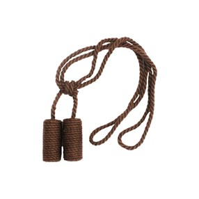 bark brown jute cylinder curtain tieback
