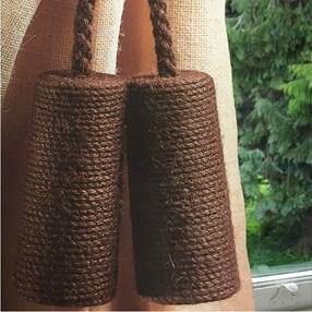 brown bark colour jute cylinder curtain tieback