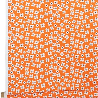 belle amie a vintage orange and white flower print on cotton granny chic