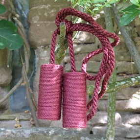 berry red jute cylinder curtain tieback