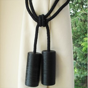 black leather cylinder curtain tieback or hold-back