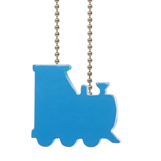 child cord safety device in decorative blue train shape for blind, curtain, drape and windows