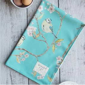 Blue Tit & cherry Blossom kitchen tea towel in turquoise