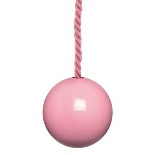 glossy pink painted wooden bathroom light pull with matching cotton cord