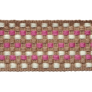 decorative interior trimming of small square dots woven in rose, white and natural in cotton