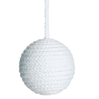 cable window blind pull in chalky blue colour made from cotton wrapped wood ball