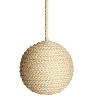 cable window blind pull in natural rope colour made from cotton wrapped wood ball