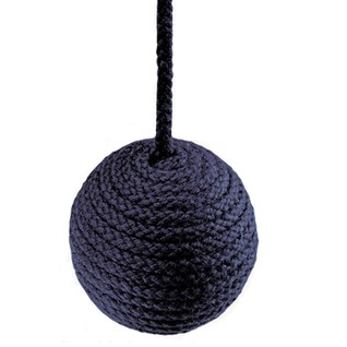 cable window blind pull in navy blue colour made from cotton wrapped wood ball