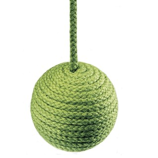 cable window blind pull in seaween green colour made from cotton wrapped wood ball