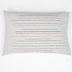 slub effect striped woven cushion by Laura Fletcher in multi colour on off-white ground