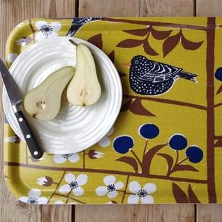 cherry orchard small tray, Marianne Westman Körsbärsträdgården,1960s mustard yellow blue tray