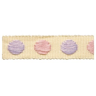 bon-bon pink & blue lilac childrens spot woven decorative braid trimming for curtains or blinds
