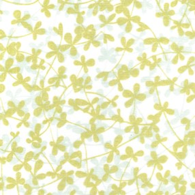 chartreuse leaf print roller blind fabric on a sheer transparent voile