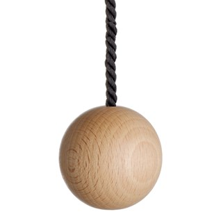 large natural wooden ball bathroom light pull with black cotton rope cord