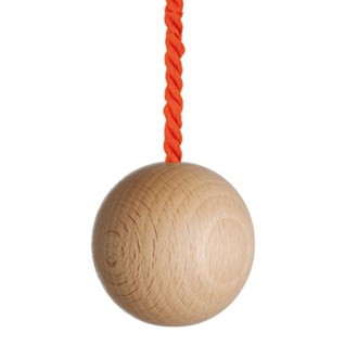large natural wooden ball bathroom light pull with bright orange cotton rope cord