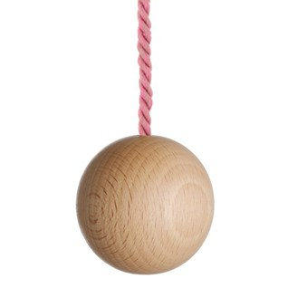 large natural wooden ball bathroom light pull with petal pink cotton rope cord