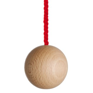 large natural wooden ball bathroom light pull with bright red cotton rope cord
