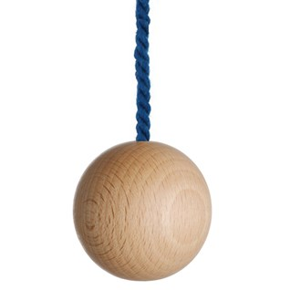 large natural wooden ball bathroom light pull with navy cotton rope cord