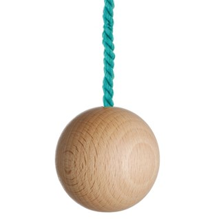 large natural wooden ball bathroom light pull with turquoise cotton rope cord