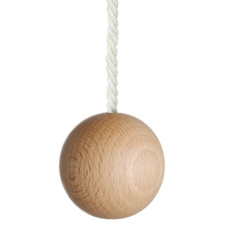 large natural wooden ball bathroom light pull with white cotton rope cord