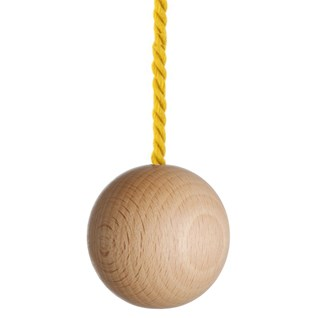 large natural wooden ball bathroom light pull with bright yellow cotton rope cord